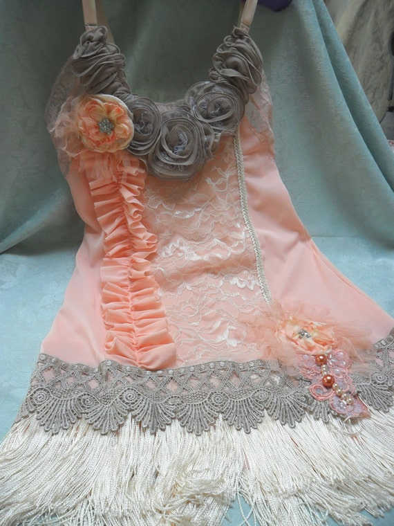 FLAPPER Great Gatsby 1920s Jazz Age Speakeasy Roaring 20s - Vintage Slip make Over - Peach & taupe
