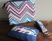 Coin Purse, Keychain, Tissue Case: Organize Your Purse Kit in Purple & Navy Blue Chevrons. - NFallonDesignStudio