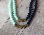 Mint Indigo Blue Necklace - Swarovski Crystal Statement Piece - Double Strand - Antiqued Brass - Wedding - Gift Box - MySelvagedLife