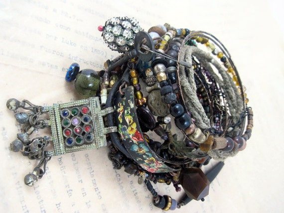 A Second Heart. Tribal Gypsy Assemblage Bangle Stack in Back and Darks.