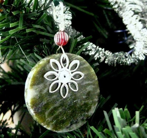 Connemara Marble Ornament. Irish Christmas Decoration or Rear View Mirror Charm