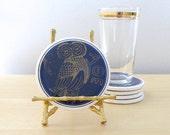 greek mythology ceramic coasters, 1970 vintage coaster set, owl, athena, trojan soldiers - ionesAttic