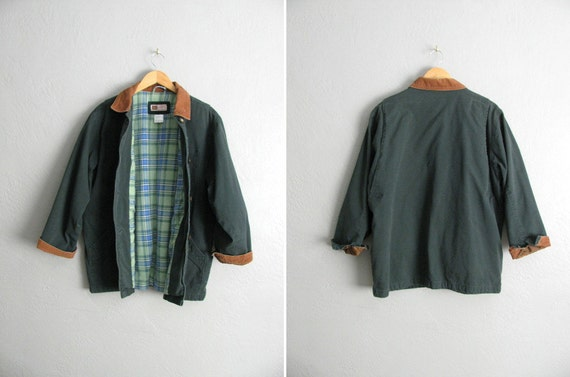 vintage unisex '90s FOREST green canvas FIELD JACKET with corduroy collar. size women's xl 1x 2x / men's m l.