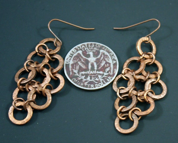 Textured Washers Earrings - Antiqued copper