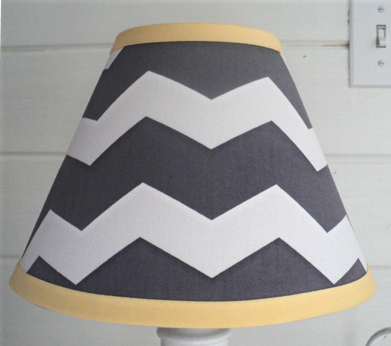 lamp shade grey chevron yellow child baby nursery bedroom decor gray. Black Bedroom Furniture Sets. Home Design Ideas