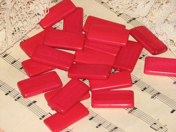 20 Red Bamboo Domino Tiles