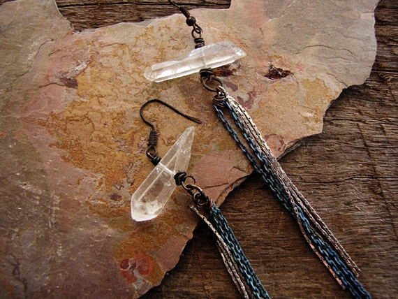 Energy - long dangle earrings - clear quartz crystal - silver chain - tribal sci-fi