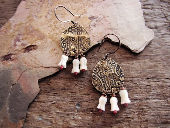 Tunisia - mother of pearl earrings - eco friendly - reclaimed tin - salvaged beads - floral embossed.