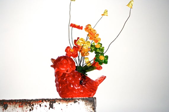 Spring has Sprung - Vintage Lucite Bird - Mod Decor - Retro - Bird - Garden - Lucite Flowers - Orange - Neon
