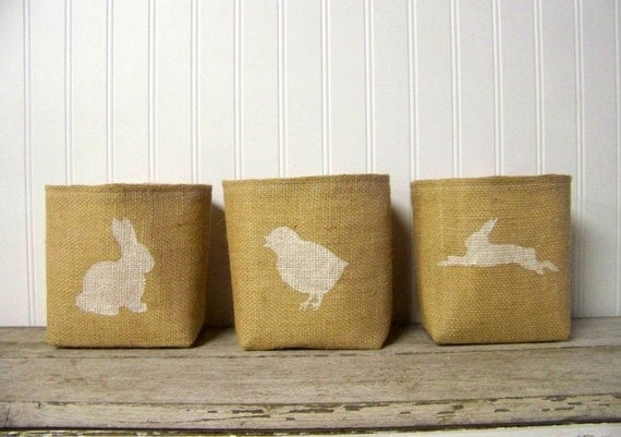 silhouette easter basket - burlap - bunny silhouette - white - natural - decoration - rabbit