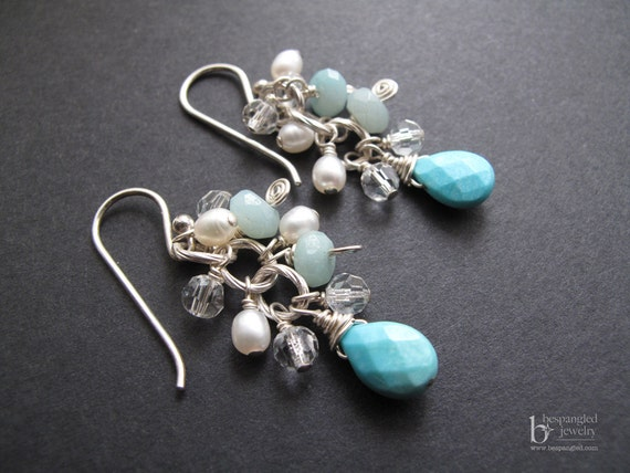Blue and white silver cluster earrings - unique handmade artisan jewelry by BespangledJewelry on Etsy