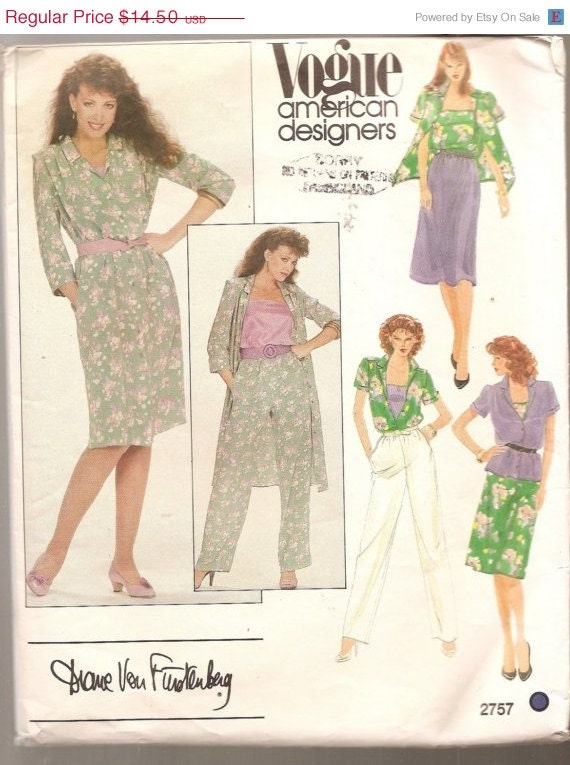 SALE von Furstenberg Designer Cami skirt pants Dress Wardrobe VOGUE sewing pattern 2757 Pattern Diane von Furstenberg misses size 8