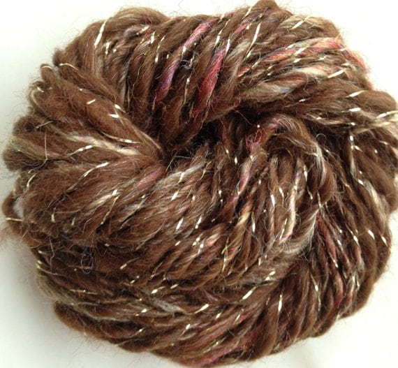 Alpaca/Silk Hand Spun Yarn - MINI - HS027 -  0.4 ounces - 30 Yds - DK Weight