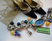 Watch and Blue Beads Bracelet With Vintage Polly Pocket and Other Charms Handmade by Recycloanalyst