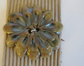 Button Flower Hand Painted in Africa - 1 Large Button - FabricFascination