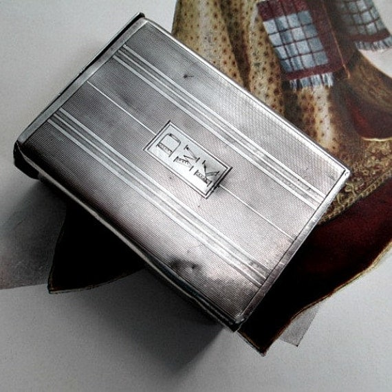 forties fifties fim noir gangster style cigarette case box sterling silver well loved