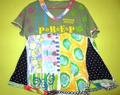 Funky Hand Painted short sleeve swing top fits small medium large