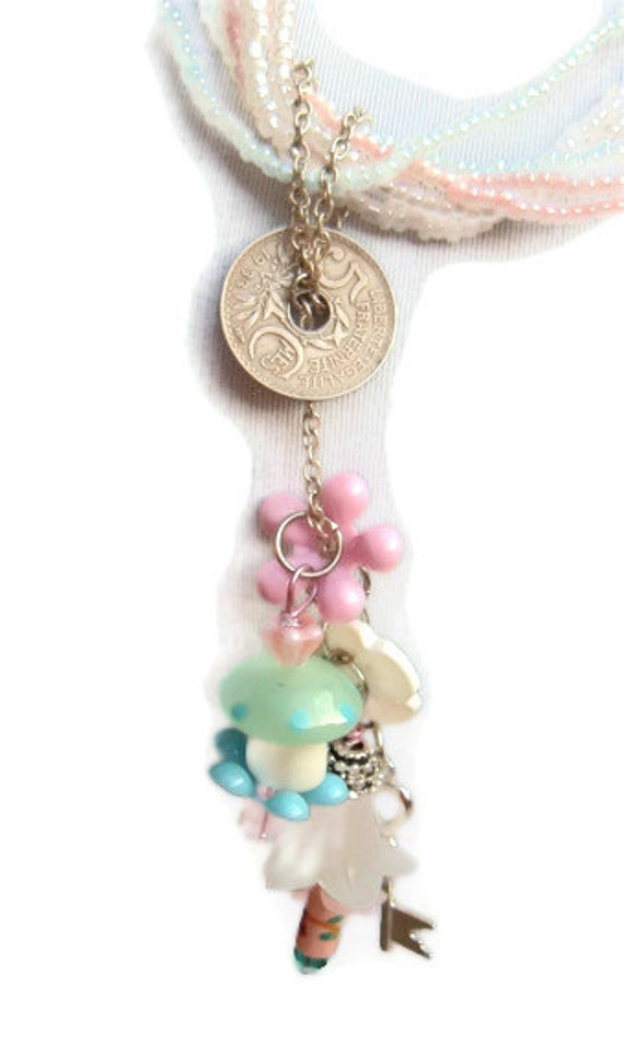 Spring Fling pastels and a toadstool vintage recycle flowers and buttons one of a kind necklace