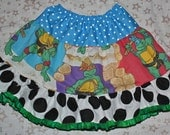 Tiered Twirl Mix-up Skirt - Ninja Turtles - TuTu Pettiskirt OOAK Girl's sz 6/7 - Ready to Ship
