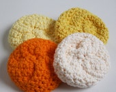 Cotton Round Wash Cloth, Crochet, Cleansing Pads, Orange, Mustard, Yellow, Cream, Ready to Ship - by Nykki Makes