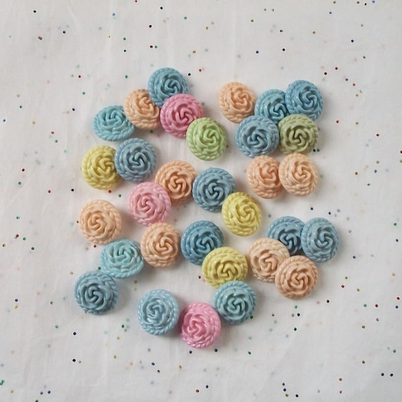 20   Pastel Roses Button Mi - Shabby Chic - Nursery - Baby -   Shank Backs - (G 7-)