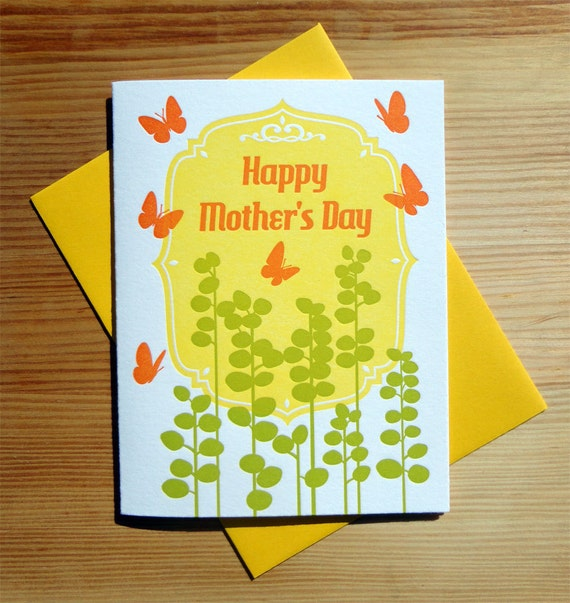 Handmade Letterpress Mothers Day Card