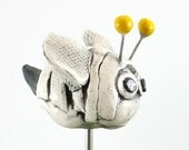 "Plant Stake: Bee ""Pot-Pal"" a porcelain ceramic sculpture for potted plants and gardens - hadleyclay"
