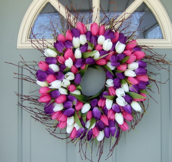 Spring Wreath - 22 inch Spring Tulip Wreath - Tulip Door Wreath