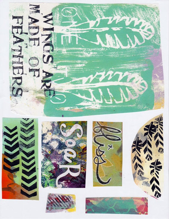 words and feathers art journal collage sheet