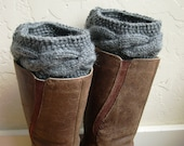 Gray Boot cuffs - Gray Leg Warmers - Gray boot toppers  - Winter Fashion 2013 - Knit boot tops - Machine Washable - Gray boot socks