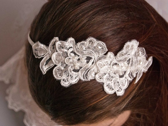 Lace headband -  Bridal lace headpiece - Bridal headband - Ivory headband
