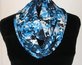 Woven Blue Print INFINITY Scarf Handmade Cynsible Creations