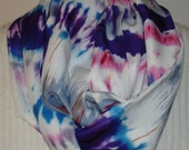 Woven Challis Blue Tie Dye Print INFINITY Scarf Handmade Cynsible Creations