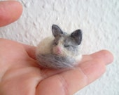 Sleeping grey and white long haired Cat - needlefelted sculpture - miniature pet model - made to order animal collectible soft sculpture - TheGreedyCrocodile