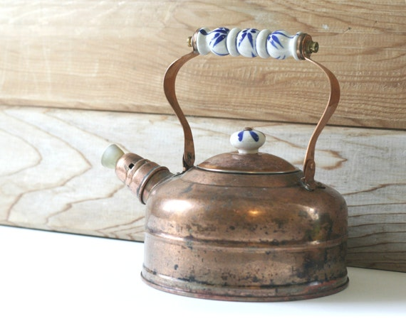 Vintage Douro Copper Tea Kettle with Blue and White Porcelain Handle
