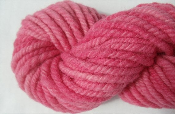 "Hand Dyed Pink Bulky Babydoll Wool and Alpaca 42 Yards "" Bubblegum """