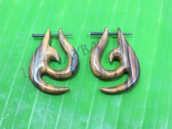 wooden tribal earrings organic jewelry