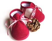 Burgundy Baby Booties Red Stripes Spring Winter Baby Shoes Newborn Warm Pastel