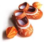Victorian Baby Sandals Spring Summer Orange Tangerine Tango Lace Baby Shoes Newborn