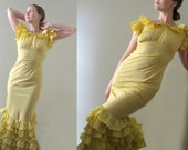 Vintage 20s 30s Yellow Ruffle Dress -Great Gatsby Glamorous Hollywood Buttercup Flamenco Sexy Ballroom Dance Formal Long Bias Lemon Gown XS