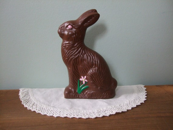 Vintage Chocolate Rabbit Ceramic Figurine