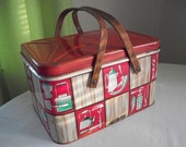 Shabby 1950s Red Checkered With Graphics Metal Picnic Basket - sewupcycle