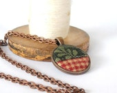 Red Gingham Green Fabric Necklace Quilt Leaf Copper Pendant