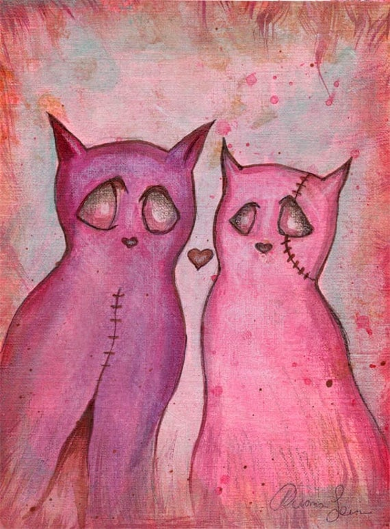 Love Cats Valentine's Day Art Print