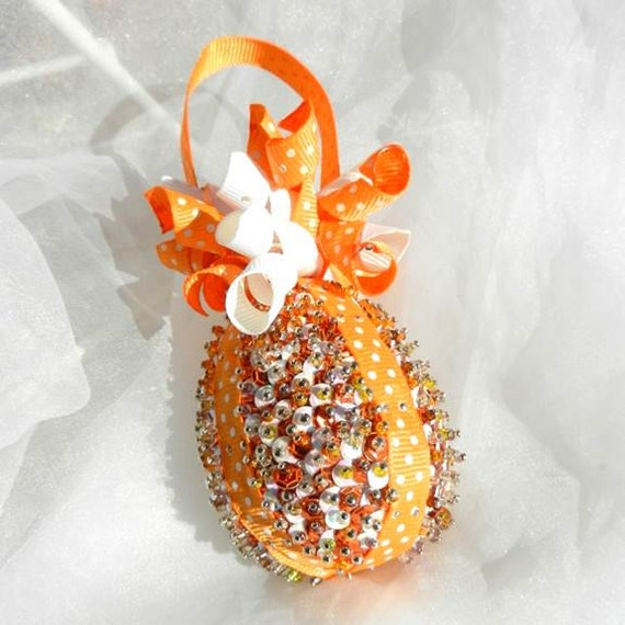 Orange White Easter Egg Beaded Sequins Ornament