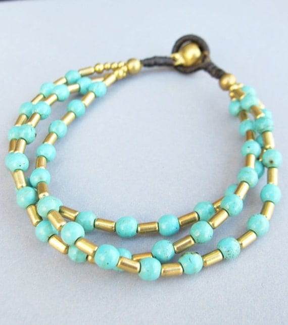 Casual Multi Line Bracelet with Brass Bead and Turquoise Bead
