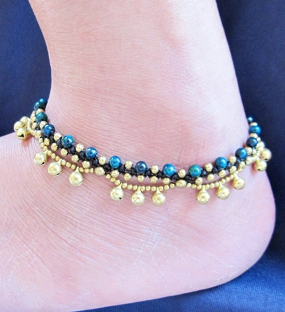 African Tuquoise Stone Beaded Ring Ring Ankle Bracelet