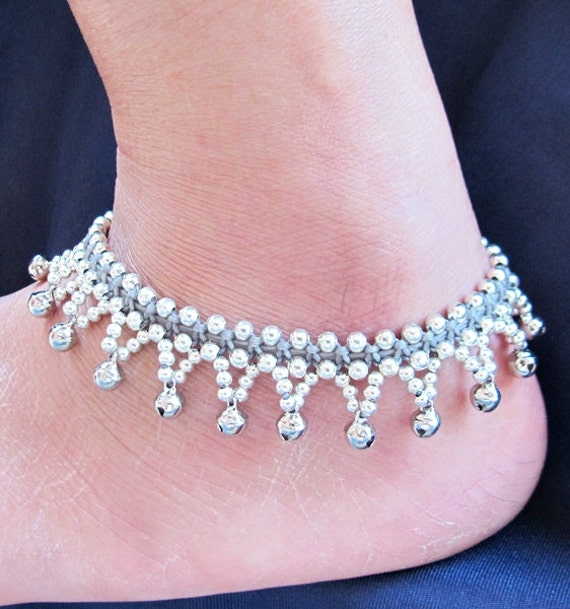 Little Cascade Mini Bell Silver Plated Gray Anklet