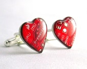 Circuit Board Cufflinks -- Domed Red Hearts -- For Big-Hearted Geeks