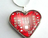 Circuit Board Necklace -- Domed Red Heart -- Epic Geek Love